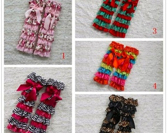 Satin or Lace Ruffled Petti Leg Warmers for Baby to Big Girls in many color combo's to choose from!!!