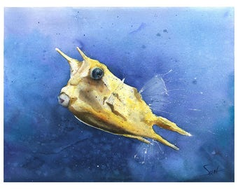 cowfish watercolor longhorn cowfish painting cowfish print fish print fish art print