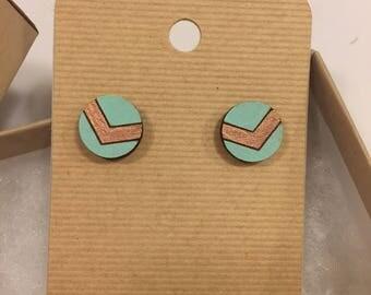 rose gold and aqua circle wooden earrings