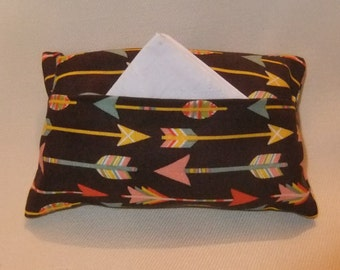 Pocket Tissue Holder, Multicolor Arrows on Brown Background; Travel Tissue Case