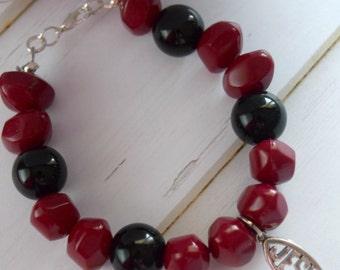 Cranberry Cross Jewelry Bracelet With Christian Fish Charm