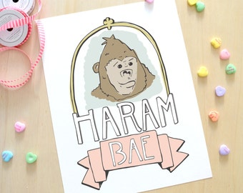 Instant Download, HaramBAE Printable Valentine's Day Card, Funny, Illustration, Digital Print, Hand Drawn, HARAMBE, V-Day
