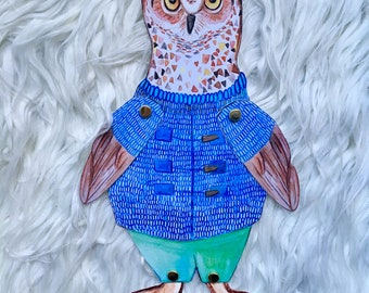 Simon the Owl, paper doll woodland animal, toy, nursery, collection, illustration, drawing