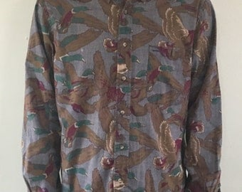 Retro 80s All Over Duck Print Button Up Shirt