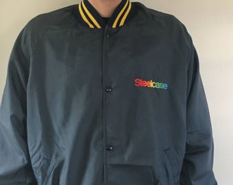 Retro Steelcase Button Up Athletic Jacket