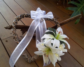 Rustic Aisle Marker Heart Wreath Pew Decoration