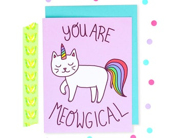 Cat Unicorn Card, Meowgical, Purple, Rainbow Cat, Bestie Card, Birthday Card, Best Friend, Just Because, Celebration Card, Magic, Lettering