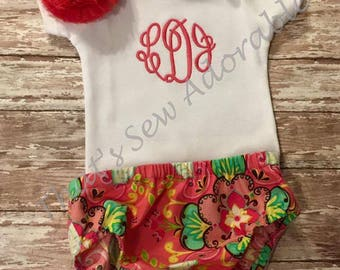 Newborn Outfit-Onesie with monogram, floral headband and diaper cover-Made to order