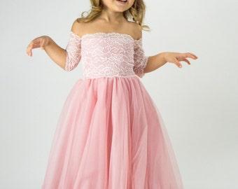 Bohemian Tulle Dress for girl. Flower girl boho off shoulder lace and tulle dress.