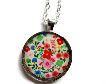 FLOWER NECKLACE - flowers pendant - flowers jewelry - floral handmade necklace - flowers vintage necklace jewelery - colorful flower  floral