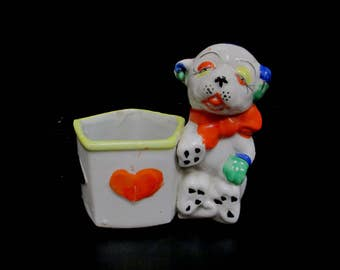 Vintage Bonzo Dog Planter Figurine, Painted Porcelain Holder with Heart Spade Diamond Club, Bonzo Pot with Playing Card Suits, Made in Japan