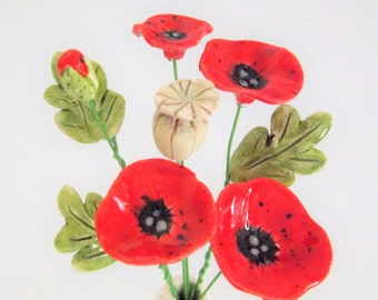 Ceramic Mini Poppy flower and vase set -  hand crafted pottery poppies australian