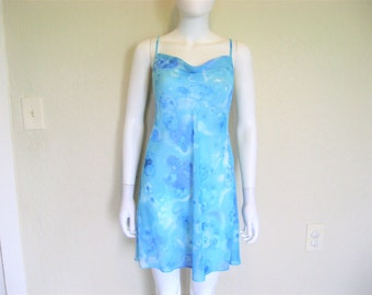 Sheer Blue Print Slip Dress - medium large