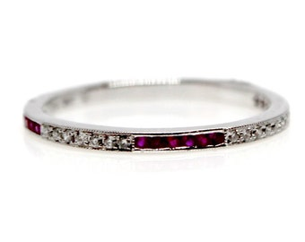 18k Diamond Ruby Wedding Band Vintage style Ring