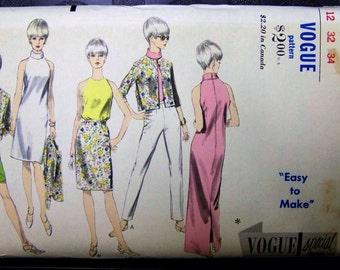 1960s Vogue Special Design 6795 BARE SHOULDER Dress, blouse, jacket,pants & shorts Pattern sz 12 COMPLETE