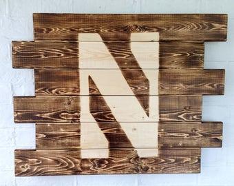 Northwestern University Rustic Burned Wood Sign