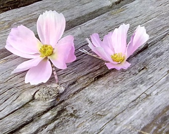 Pink Cosmo Flower Hair Pins, Pink Floral Hair Pins, Cosmos Bobby Pins, Summer Wedding Hair Accessories, Pink Flower Girl Accessories, F09