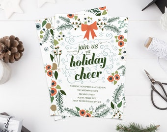 Holiday Cheer Invitation - Modern Floral Christmas Party Invitation - Printable Invites - Instant Download