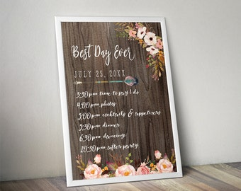 Rustic Wedding Schedule Sign - Best Day Ever Itinerary - Floral Sign - DIY - Digital File - PDF - Instant Download