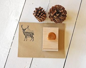 Handwriting Rustic Deer Address Stamp - Custom Buck Stamp for Rustic Wedding Invitations - Country Wedding Return Address Stamp