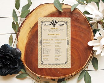 1920s Wedding Programs - Great Gatsby Black & Gold Vintage Glam Retro Ceremony Programs - Printable or Printed