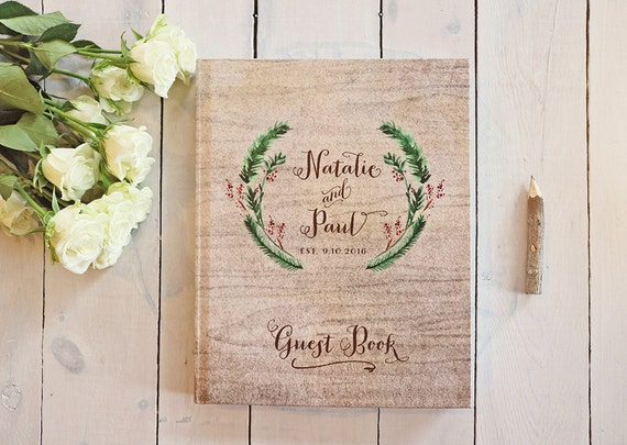 Winter Wedding Guest Book Rustic Wedding Guest Book Bridal Shower ...