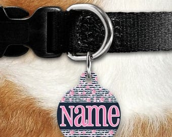Lotus Love Striped Pet Tag - Flower - Personalized Tag - Feminine Pet ID - Name Tag - Girl Tag - Two Sided Tag - Name Tag - Lotus Flowers