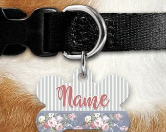 Vintage Shabby Chic Floral Identification Tag - Summer Tales - Blue Floral - Wedding - Pet ID - Custom Pet Tag - Personalized Pet - Stripes