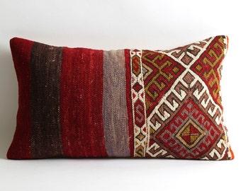 bohemian kilim pillow, 12x20 vintage pillow, throw pillow cover, throw pillows, pillow case, boho chic pillow, accent pillows, accent pillow
