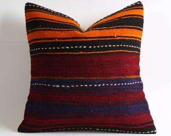 Bohemian pillow, 16x16 boho pillow, striped kilim throw pillow, pillow cover, pillow, decorative pillow, gypsy, boho, vintage