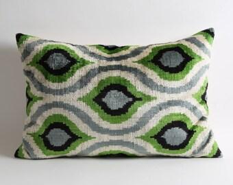 Velvet Ikat Pillow Cover Ikat Bedding Green Black Velvet Pillow Decorative Throw Pillows Ikat Cushion Green Velvet Pillow Throw Cushion