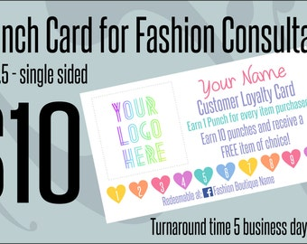 Loyalty Punch Card for Fashion Consulants - Free item of choice