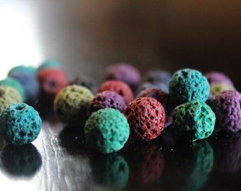 8 mm natural lava beads, dyed, round, 25 beads, mixed colors, 1 mm hole, great for essential oils