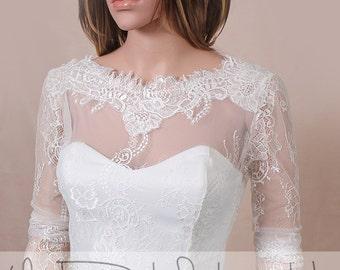 Plus size Wedding cover up/bolero/ V back / wedding jacket/ shrug/bridal lace top