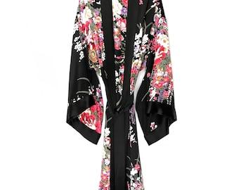 Silk kimono, kimono robe, silk robe, black silk kimono, silk kimono robe, silk kimonos, bridesmaid silk robe, floral silk robe, gift for her