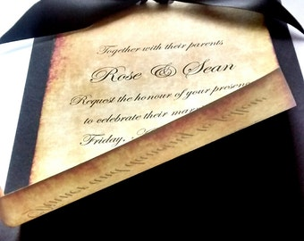 Invitation ribbon etsy vintage invitation rose parchment invitation old paper wedding invitation aged effect stopboris Gallery
