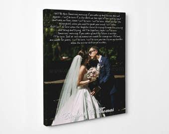 Wedding Custom Canvas Print. Wedding Lyrics, Vows, Songs. Wedding/Anniversary Gift. Perfect Wall Decor, OC Canvas Studio