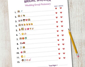 Bridal Shower Emoji Pictionary / Wedding Emoji Pictionary / Bridal Shower Game / Wedding Shower Game / INSTANT Printable 5x7
