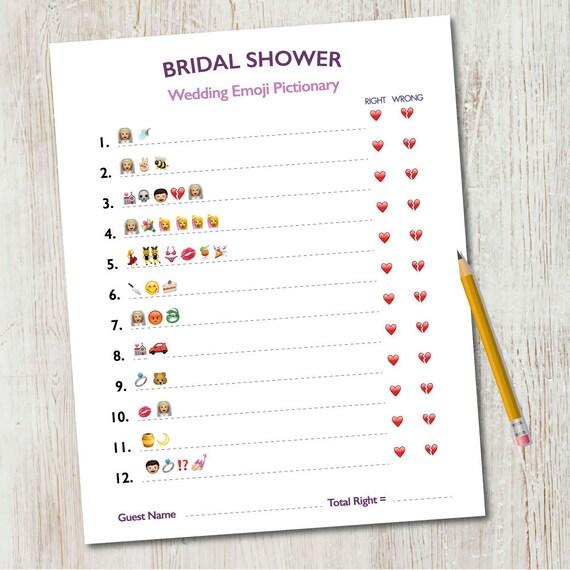 Bridal Shower Emoji Pictionary / Wedding Emoji Pictionary