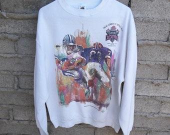 Vintage Sweatshirt NFL Super Bowl Dallas Cowboy Buffalo Bills 1993 Unique Gift Hard to Find sz Medium Oversized Puffy Watercolor Abstract