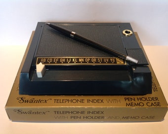 "1960s ""Swantex Ambassador"" Personal Telephone Index with Pen & Memo/Card Case. 1960s Retro Desk Accessories. Office Equipment. New Job Gifts"