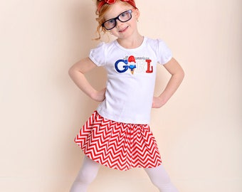 All American Girl Shirt - Girls 4th of July Shirt - 4th of July Baby Bodysuit - Patriotic Shirt - Red white and Blue - Embroidered Tee
