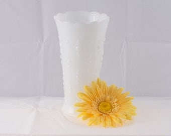 Milk Glass Tear Drop Vase, Vintage Milk Glass Vase