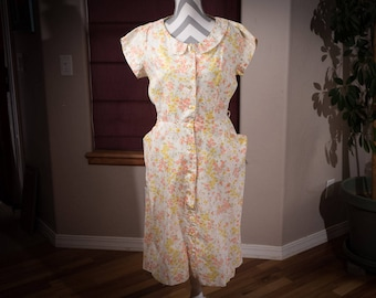 Vintage Cotton Floral Dress, 1970's Cotton Day Dress