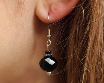 Deep Black and Silver Dangle Earrings (FREE SHIPPING!)