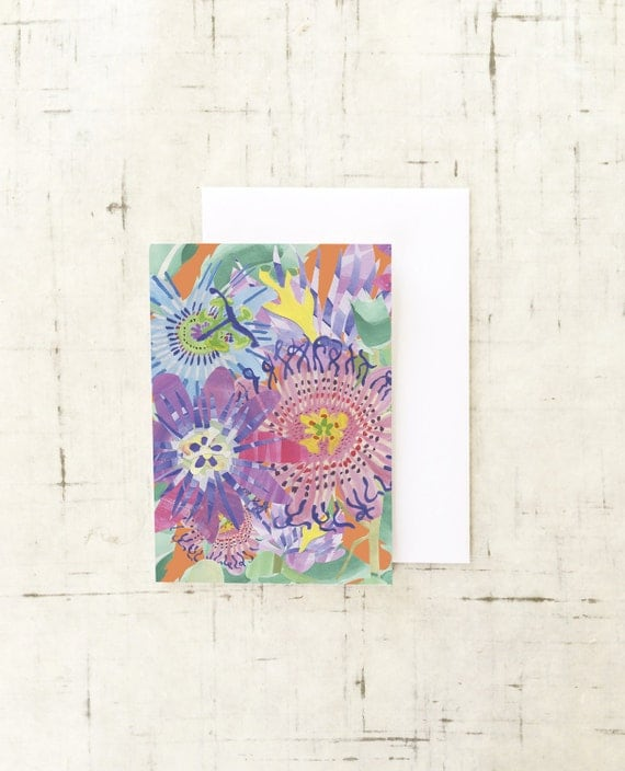 Christmas Card Wall Decor : Passion flower greeting card wall art prints paper