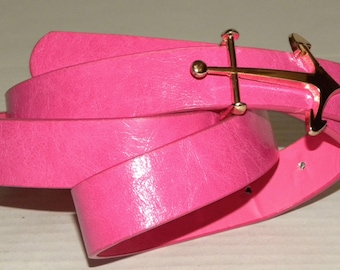 1990s 90s FAUX Leather Belt / Hot Pink with Gold Anchor Buckle / Nautical Preppie / Bold / M-L