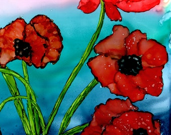 Alcohol Ink Art.  Alcohol Ink Print. Poppies.