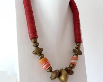Red African necklace made of bakelite plates
