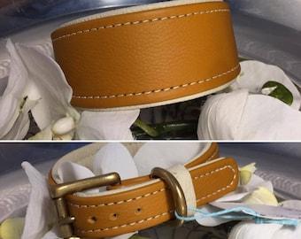 Leather collar ochre on cream